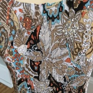 Alberto Makali Tops - Alberto Makali brown tones print stretch top, Lg